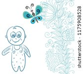 baby boy and butterfly. vector... | Shutterstock .eps vector #1175908528