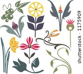 a set of 10 vector floral...