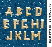 wooden alphabet with snow | Shutterstock .eps vector #1175923948