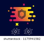 shield line icon. protection or ... | Shutterstock .eps vector #1175941582
