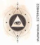tattoo flash. eye of providence.... | Shutterstock .eps vector #1175944822