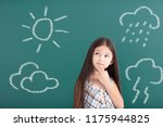 little girl thinking about... | Shutterstock . vector #1175944825