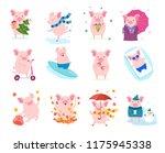 set of cute cartoon pigs.... | Shutterstock .eps vector #1175945338