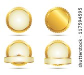 vector badges of gold seal set | Shutterstock .eps vector #117594595