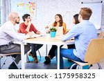young students discussing... | Shutterstock . vector #1175958325