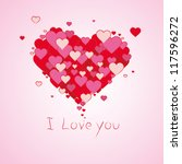 valentine red love hearts... | Shutterstock . vector #117596272