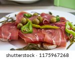 bruschetta with prosciutt | Shutterstock . vector #1175967268