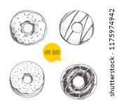 sweet dessert donuts. hand... | Shutterstock .eps vector #1175974942