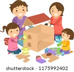 illustration of stickman family ... | Shutterstock .eps vector #1175992402