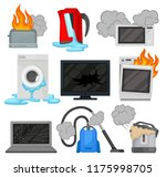 broken home appliances set ... | Shutterstock .eps vector #1175998705