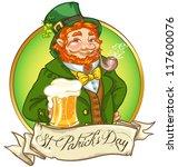 leprechaun  irish man with beer ... | Shutterstock .eps vector #117600076