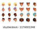 set of vector boys head faces... | Shutterstock .eps vector #1176001348