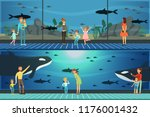 people visiting an oceanarium... | Shutterstock .eps vector #1176001432