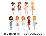 collection of cute teenager...   Shutterstock .eps vector #1176002008
