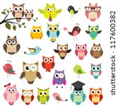 Stock vector set of owls 117600382
