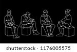men sitting in different poses. ... | Shutterstock .eps vector #1176005575