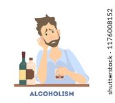 young depressed drunk man... | Shutterstock .eps vector #1176008152