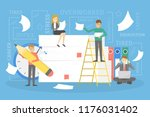 stack or pile of paper with... | Shutterstock .eps vector #1176031402