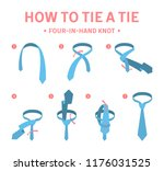 how to tie a four in hand knot... | Shutterstock .eps vector #1176031525