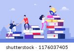 people climbing books. business ... | Shutterstock .eps vector #1176037405