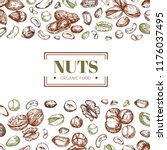 background with nuts. cashew... | Shutterstock .eps vector #1176037495