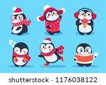 penguins. christmas penguin... | Shutterstock .eps vector #1176038122