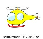 cute cartoon yellow helicopter... | Shutterstock .eps vector #1176040255