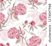 seamless watercolor floral... | Shutterstock . vector #1176047968