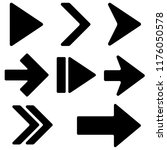 black arrows. flat icons.... | Shutterstock .eps vector #1176050578