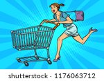 Woman Running With Shopping...