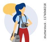 female photographer standing...   Shutterstock .eps vector #1176068218