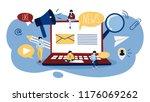 online news concept. reading... | Shutterstock .eps vector #1176069262