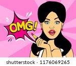 surprised pop art woman holding ...   Shutterstock .eps vector #1176069265