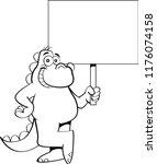 black and white illustration of ... | Shutterstock . vector #1176074158