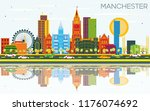 manchester skyline with color... | Shutterstock .eps vector #1176074692
