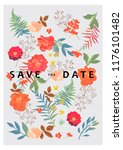 wedding background with floral... | Shutterstock .eps vector #1176101482