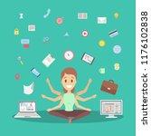 shiva business woman in lotus... | Shutterstock .eps vector #1176102838