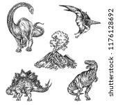 beautiful set of prehistoric... | Shutterstock .eps vector #1176128692