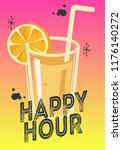 happy hour poster design with a ... | Shutterstock .eps vector #1176140272