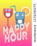 happy hour poster design with... | Shutterstock .eps vector #1176140275