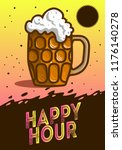 happy hour poster  design with... | Shutterstock .eps vector #1176140278