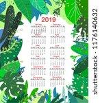 tropical nature calendar 2019 ... | Shutterstock .eps vector #1176140632