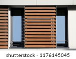 light brown louvers   blinds... | Shutterstock . vector #1176145045