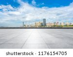 empty square with city skyline... | Shutterstock . vector #1176154705