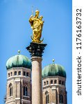 famous munich city hall at the... | Shutterstock . vector #1176163732
