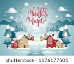 cartoon illustration with snowy ... | Shutterstock .eps vector #1176177505