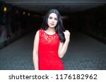 beautiful young girl in a red... | Shutterstock . vector #1176182962
