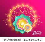 happy diwali. paper graphic of... | Shutterstock .eps vector #1176191752