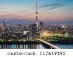 tokyo city and tokyo skytree at ... | Shutterstock . vector #117619192