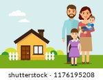 happy family move into a new... | Shutterstock .eps vector #1176195208